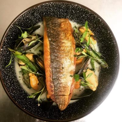 Grey Mullet Shetland Mussels Asparagus Coconut And Lime