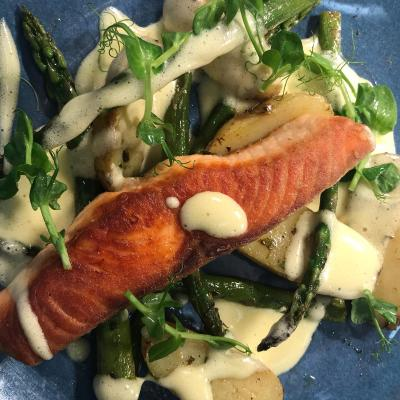 Salmon Jersey Royals English Asparagus Hollandaise