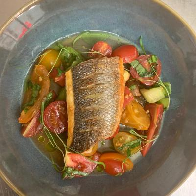 Seabass Marinated Tomatoes And Basil